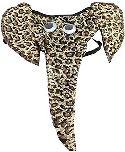 Bommi Fairy sous-vêtement Amusants pour Homme avec String en Forme D'éléphant Pochette Slip Long U Bulge Pouch Taille Basse Sexy Briefs G-String Lover Gift (Léopard)