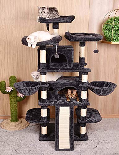 Amolife 68 Inch Multi-Level Cat Tree King/X-Large Size Cat Tower with Cozy Perches, Stable for Large Cat/Big Cat in Smoke Grey