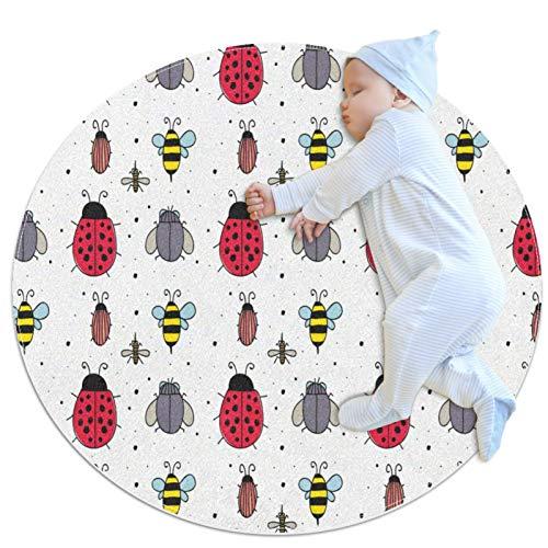 HDFGD Alfombra de círculo para niños, se utiliza en la habitación familiar, sala de estar, sala de juegos, decoración del piso, diseño de insectos de abeja mariquita mosca