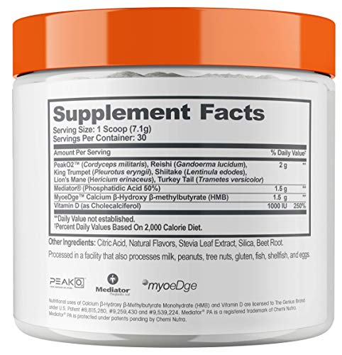Genius Muscle Builder - Best Natural Anabolic Growth Optimizer for Men & Women   True Weight Gainer Workout Supplement for Steel Physique   Clear Plateaus & Gain Mass in 7 Days with HMB, PA & Peak02
