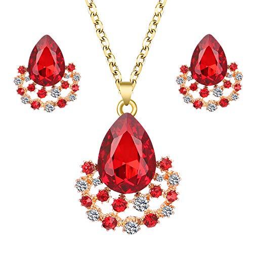 QXZ-WOLFBERRY Conjunto de Joyas de Novia de Boda, Adecuado para la Novia, la Dama de Honor, la Danza con el Collar del Fondo del Fondo del Taladro de Agua de Cristal Set (Color : Rojo)