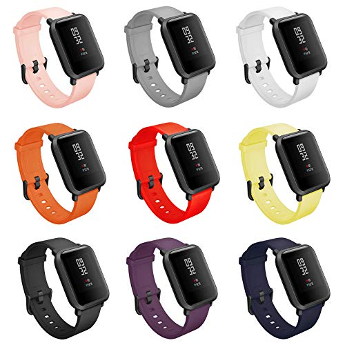 COLAPOO 20mm Straps Compatible with Amazfit Bip Smartwatch,Quick Release Pins Silicone Bands for Amazfit Bip Band,Free Size for Small Wrist Big Wrist Men Women (9-Pack)
