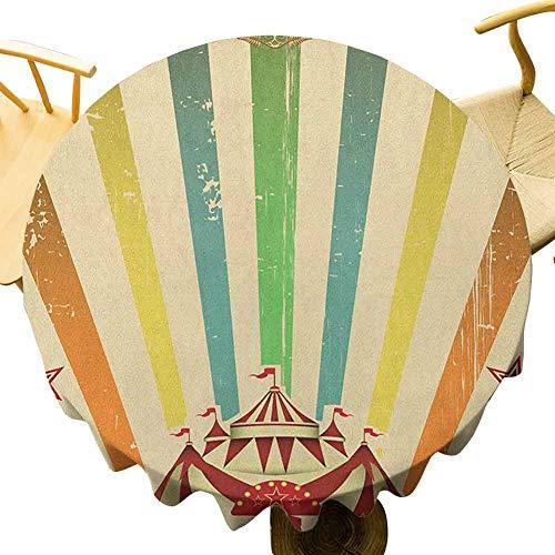 VICWOWONE Mantel vintage arco iris – 55 pulgadas redondo mantel de poliéster de circo viejo Carnaval anuncio temático rayas estrellas y diversión tienda feria diseño sin costuras multicolor
