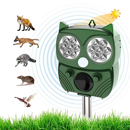 Repellente Gatti, Repellente Ultrasuoni Energia Solare IP66 Impermeabile a Frequenza Regolabile per Allontanare Animali 5 Modalità Regolabile Repeller Animali Ultrasound Repellente per Animali