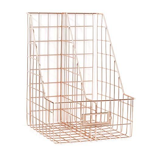 ZJL220 Portadocumentos de doble rejilla de hierro nórdico, estantería para escritorio, revistero