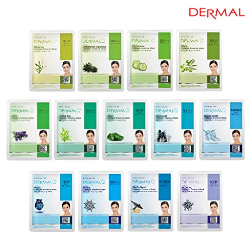 DERMAL 13 Collagen Essence Full Face Facial Mask Sheet Green Combo Pack- Skin Moisturizing & Soothing, The Ultimate Supreme Collection for Every Skin Condition Day to Day Skin Concerns