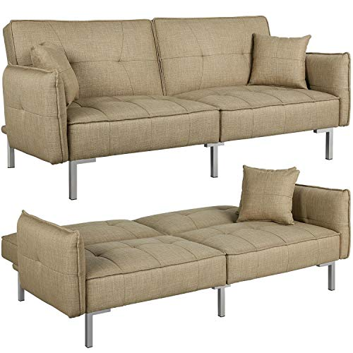 Yaheetech Fabric Sofa Bed 3 Seater Sofa Couches Click Clack Sofa Bed for Living Room/Bedroom with Arms and 2 Cushions Khaki