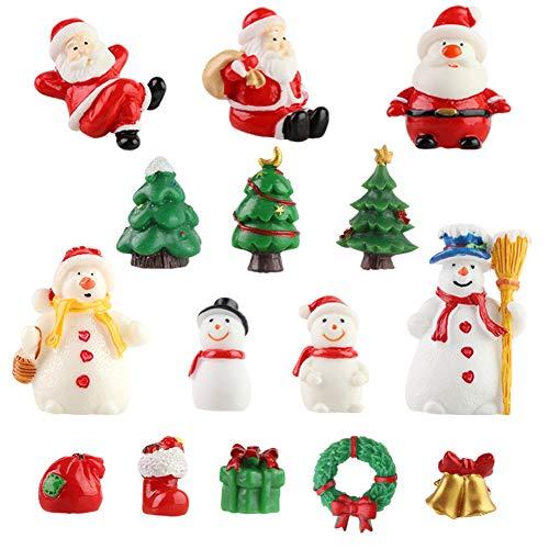 SallyFashion Harz Weihnachten Miniatur, 15 Stück Weihnachtsfiguren Mini Ornamente Set Weihnachtsmann Weihnachtsbaum Schneemann für Weihnachtsdeko DIY Feengarten