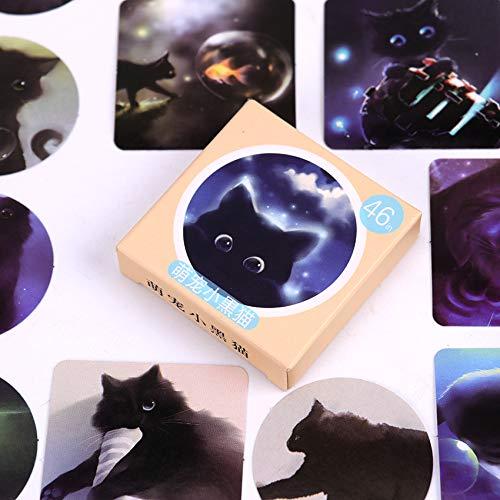 JIAQI Star Sky Black Cats Tagebuch Papier Aufkleber Planer Scrapbooking Sticky Briefpapier Escolar Schulbedarf 46Stücke / Pack