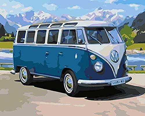 Zaosan Kits de Pintura por números niños, autobús Azul, 40X50 cm, Lienzo sin Marco, Pintura por números para Entretenimiento con 3 Pinceles