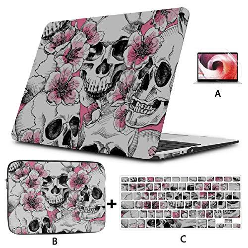 Macbook Pro Computer Case Art Skull Snake Flower Macbook Air Case 2018 Hard Shell Mac Air 11'/13' Pro 13'/15'/16' With Notebook Sleeve Bag For Macbook 2008-2020 Version