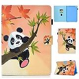 Ostop Compatibile con Cover Huawei MediaPad T3 10.0 con Porta Penna,Custodia Portafoglio in Pelle PU,Supporto Sottile Leggero Caso Stand Flip Magnetico Cover,Panda Carino