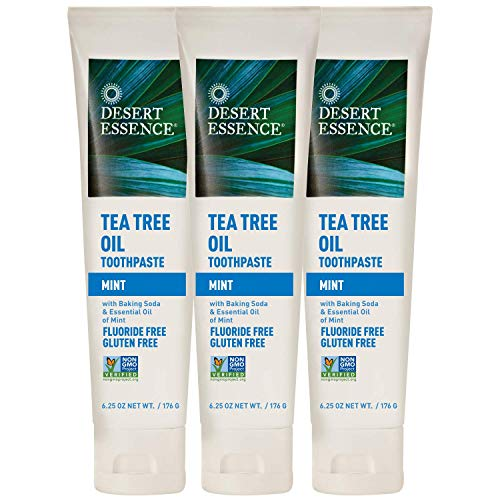 Desert Essence Tea Tree Oil Toothpaste - Mint - 6.25 Oz - Pack of 3 - Refreshing Taste - Deep Cleans Teeth & Gums - Helps Fight Plaque - Sea Salt - Pure Essential Oil - Baking Soda