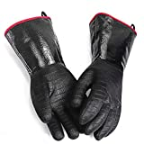 GEEKHOM BBQ Gloves Heat Resistant Cooking, 18 Inch Grill Gloves Heat Proof Insulated Gloves for Turkey Fryer, Barbecue, Grilling, Baking (Black)