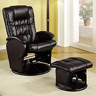 BOWERY HILL Faux Leather Glider Recliner and Ottoman in Brown