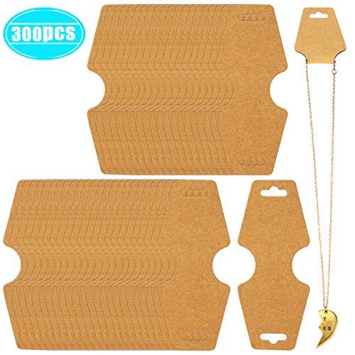 Owevvin 300 Pieces Necklace and Bracelets Display Hanging Cards, Blank Brown Kraft Paper Necklace Card Holder Jewelry Display Cards Price Tags(4.7 x 2 Inches)
