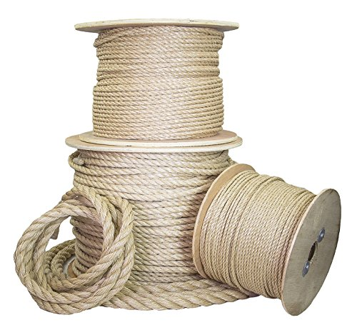 Ravenox Twisted UnManila Rope | (1/4-inch x 50-feet) | ProManila Polypropylene Cord for Indoor Outdoor Use | 3/16-in to 2-inch Diameter | for Landscaping, Tug of War, Marine, Projects and Tie-Downs