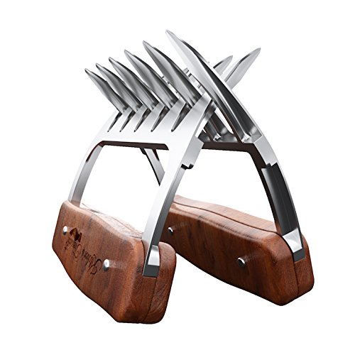 Meat Shredder Claws - Stainless steel- BBQ chicken,Pork Pullers Paws with durable wooden handles - Meat Shredding Forks and Hooks for Lifting, Handling, Shred Roasts and Briskets (2PCS)