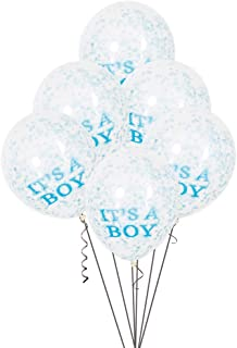 "12"" It's A Boy Blue Confetti Balloons, 6ct"