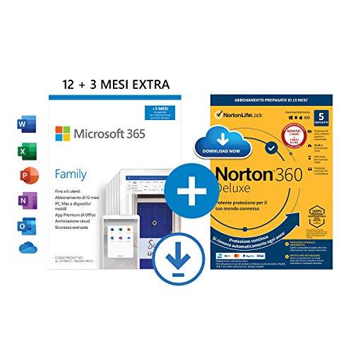 Microsoft 365 Family | fino a 6 persone | 1 abbonamento annuale |12+3 Mesi | PC/Mac | Codice d'attivazione via email + NORTON 360 Deluxe |15 Mesi - Codice d'attivazione via email
