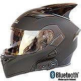 STRTT Bluetooth Casque Moto Modulable,Anti-Fog Double Visière Casques Moto Intégral,Professionnel Casques Motocross avec Microphone Intégré,ECE Homologué
