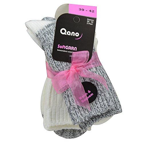 Qano 2 Paar Damensocken softGarn extraweich mit Schleife Graumelliert/Naturmelliert (39/42)