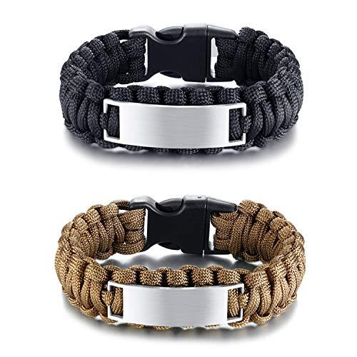 JewelryWe ペア ブレスレット 人気 刻印無料 カジュアル バングル レザー 革 腕輪 メンズ ファッション アクセサリー クリスマス プレゼント