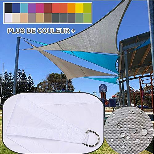 3x3x3m / blanc, Voile d'ombrage Impermeable Triangulaire, polyester déparlent Matière 95% anti UV, Abri Voiture de Pergola pour Patio Extérieur, Jardin, Serre, Terrasse et Camping Toile d'ombrage