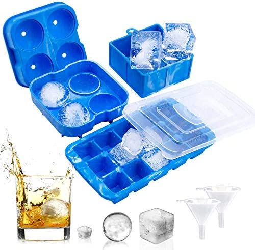 Ice Cube Trays for Freezer Set of 3 Silicone Large Ice Cube Tray Round Ice Ball Mold with 2 product image