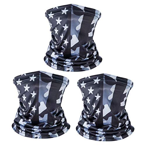 3 Pack American US Flag Face Bandana, Sun UV Dust Protection Reusable Washable Half Mask Scarf, Cooling Cloth Neck Gaiter Motorcycle Running Hiking Cycling Balaclava Headwear for Men Women-A