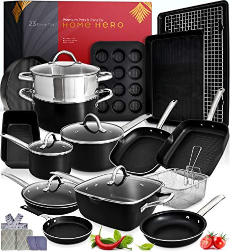 Kitchen Pots and Pans Set Nonstick Induction Cookware Sets 23pc Induction Pots and Pans for Cooking Kitchen Cookware Sets with Frying Pans Nonstick Pots and Pans Set Non Sticking Pan Set Cookware Set