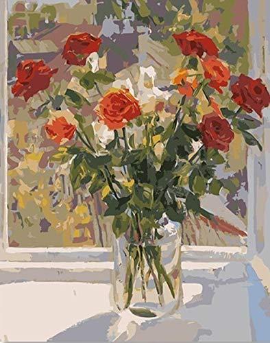 DIY olieverfschilderij vensterbank rode bloemen verf op nummer kit kleurrijke Canvas met borstels Decor Decoraties Kerstcadeaus 16 * 20 Inch.40 * 50Cm