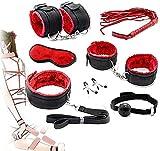 Black-Red Bed Nylon Bóndage Bund Hǎndcǔffs Set Kit Juego para parejas Juego Sxx Toys