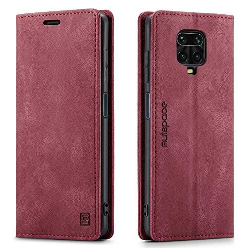 GoodcAcy Etui Coque pour Xiaomi Redmi Note 9s/Note 9 Pro Protection Housse en Cuir Portefeuille Livre, Premium Rétro Magnétique Housse Flip Case pour Xiaomi Redmi Note 9s/Note 9 Pro,Vin Rouge