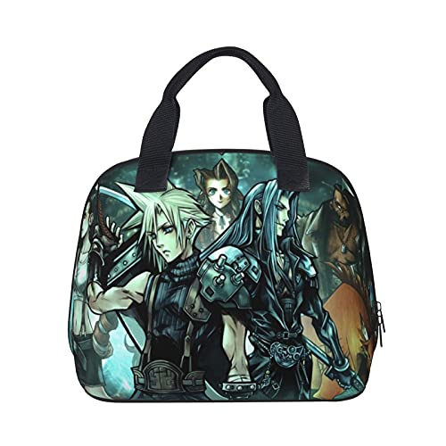 Final Fantasy VII Insulated Lunch Box Bag Leakproof Reusable Lunchbox,Adult Outdoors Portable Meal Prep Container Freezable Bag for Office Work,Picnic,Hiking,Beach Organizer