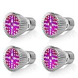 [4 Pack] Lampada per Piante 40W Grow Light, Full Spectrum Lampada LED per Piante Coltivazione Indoor con Bulbo Sostituibile E27/E26, SMD2835 Luce per Le Piante per Giardino Serra Piante da Interno