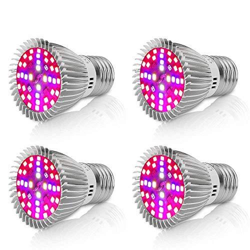 Derlights [4 Stück] LED Pflanzenlampe 40W E27 Grow Light, Vollspektrum Pflanzenlicht Grow Lampe, SMD2835 Pflanzenlampen Wachstumslampe für Pflanzen Garten Gewächshaus Zimmerpflanzen