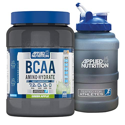 Applied Nutrition Bundle: BCAA Amino Hydrate Powder 1.4kg + 2.5 LTR Water Jug | Branched Chain Amino Acids Supplement with Electrolytes, B Vitamins, Intra Workout & Recovery Drink (Green Apple)