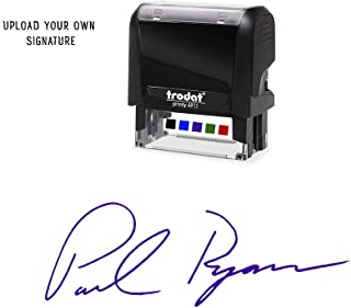 Custom Upload Signature Stamp - Customizable Signature Stamp - Personalized Self-Inking Signature Stamps. Purple Ink