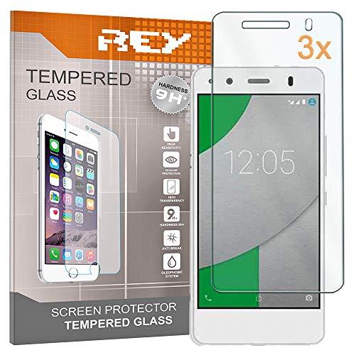 REY 3X Protector de Pantalla para BQ AQUARIS M4.5 / BQ AQUARIS A4.5, Cristal Vidrio Templado Premium