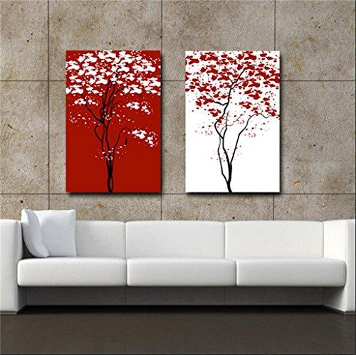 Zita and Zetan Bianco Rosso e Astratto Fiore Moderna Pittura Decorativa Camera (Dimensioni : 50 * 70 * 2.5cm)