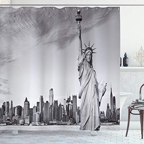 ABAKUHAUS Nueva York Cortina de Baño, Libertad, Material Resistente al Agua Durable Estampa Digital, 175 x 180 cm, Gris