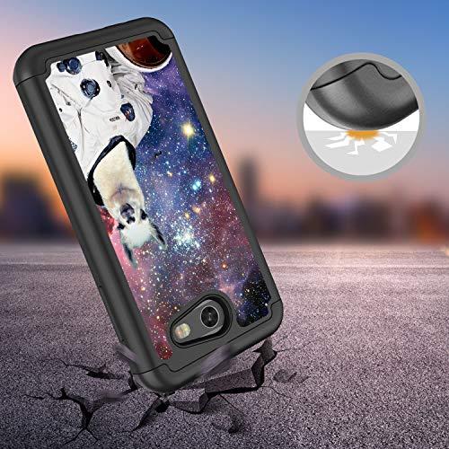 Galaxy J3 Emerge Case,J3 Prime/J3 2017/J3 Mission/Sol 2/Amp Prime 2 Case, Rossy Hybrid TPU Plastic Dual Layer Armor Defender Phone Case for Samsung Galaxy J3 2017,Hipster Llama Alpaca Space