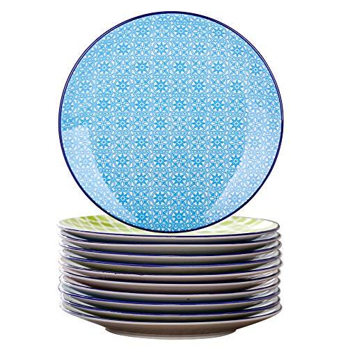 vancasso serie Macaron Vajillas de 12 piezas Platos de Porcelana Redonda, Plato de Postre, Estilo Japonés Pintado a Mano