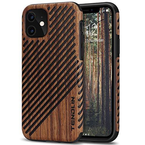 TENDLIN Kompatibel mit iPhone 11 Hülle Holz und Leder Hybrid Handyhülle (Rotes Sandelholz)