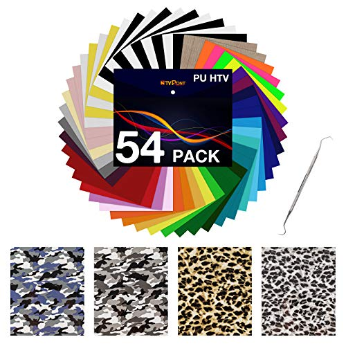 """HTV Heat Transfer Vinyl Bundle: 54 Pack 12"""" x 10"""" Iron on Vinyl for T-Shirt, 36 Assorted Colors with HTV Accessories Tweezers for Cricut, Silhouette Cameo or Heat Press Machine"""
