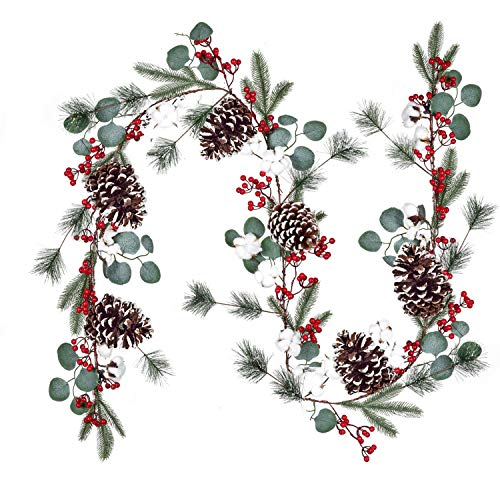 DearHouse 6Ft Berry Christmas Garland with Pinecones Berries Spruce Eucalyptus Leaves Cotton Balls Winter Artificial Greenery Garland for Holiday Season Mantel Fireplace New Year Table Runner Decor