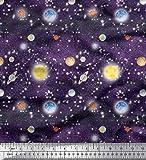 Soimoi Lila Baumwoll-Voile Stoff Planet & Sonne Galaxis