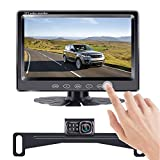 LeeKooLuu HD Backup Camera 7' Touch Key Display New Chips Two Video Channels Driving Hitch Rear/Front View Observation for RVs,Trucks,Cars,Vans Easy Installation IP69 Waterproof Super Night Vision