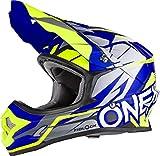 0626-004 - Oneal 3 Series Freerider Fidlock Motocross Helmet L Matt Blue Hi-Viz